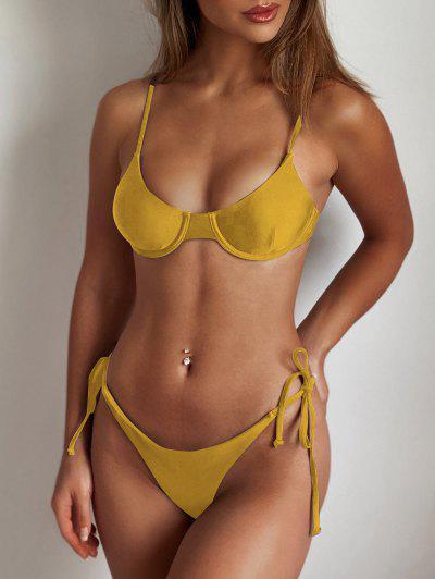 ZAFUL Tie Underwire Balconette Bikini Set - Mustard M