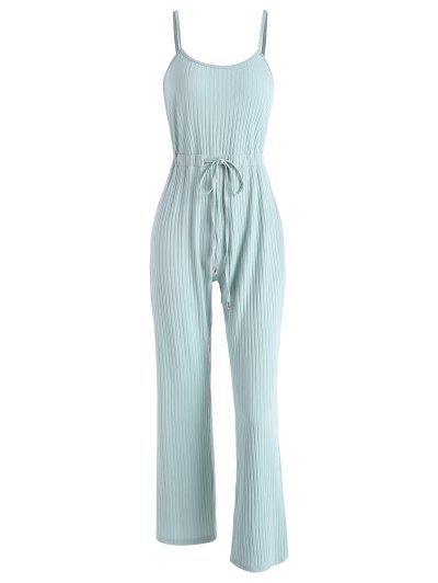 Ribbed Drawstring Waist Wide Leg Jumpsuit - Light Green L
