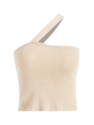 One Shoulder Knitted Fitted Tank Top - Light Yellow