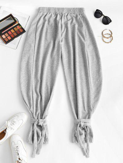 Tie Cuffs French Terry Baggy Sweatpants - Gray M