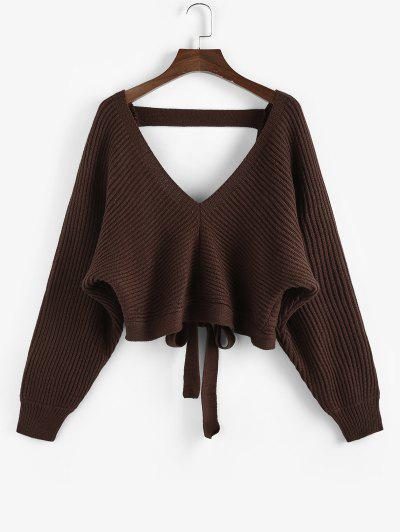 ZAFUL Tie Back Plunging Batwing Sleeve Sweater - Deep Coffee S