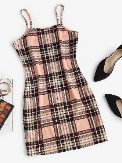 ZAFUL Plaid Bodycon Mini Dress - Light Coffee M