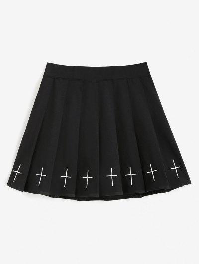 Cross Embroidered Mini Pleated Skirt - Black Xl
