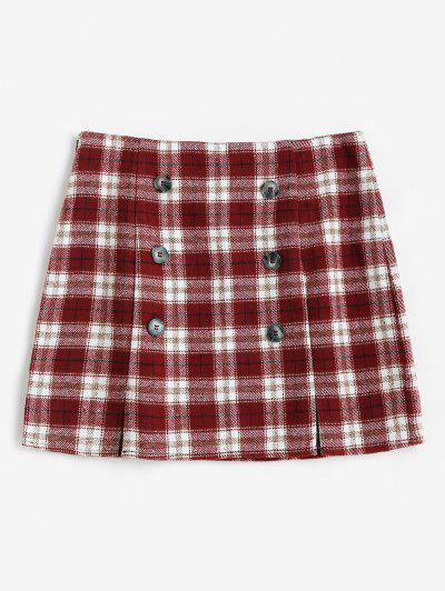 ZAFUL Plaid M Slit Mini Skirt - Red S