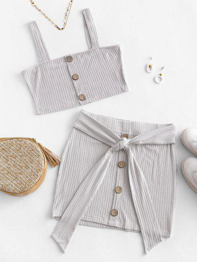 ZAFUL Button Embellished Belted Bodycon Skirt Set - Light Gray M