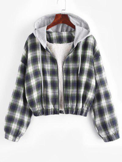 Hooded Faux Shearling Lined Plaid Jacket - Multi S