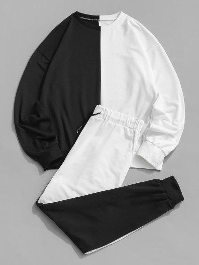 Two Tone Sweatshirt And Pants Two Piece Set - Black 2xl