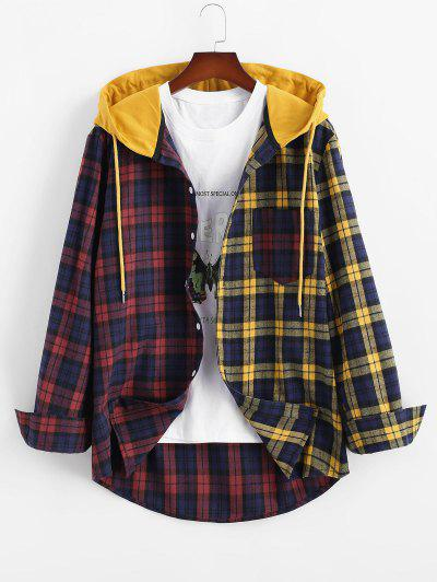 Colorblock Plaid Hooded Shirt Jacket - Yellow 2xl
