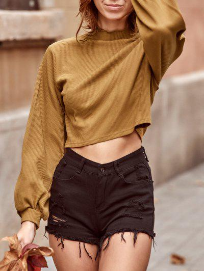 ZAFUL Ribbed Knit Drop Shoulder Short Tee - Camel Brown M
