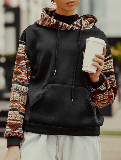 ZAFUL Ethnic Seamless Pattern Drop Shoulder Fleece Lined Hoodie - Black L