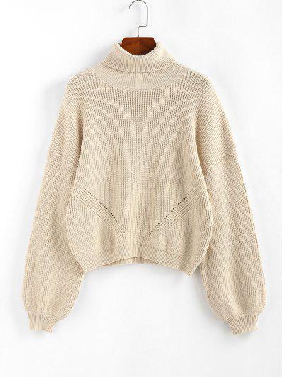 ZAFUL Lantern Sleeve Turtleneck Sweater - Light Yellow S