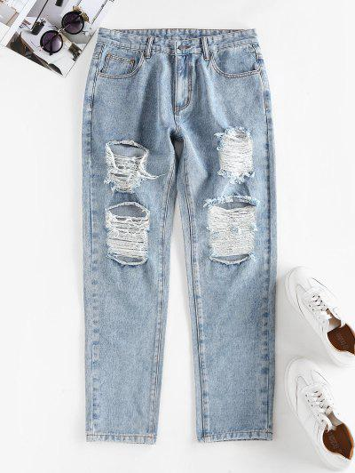 Ripped High Waisted Stovepipe Jeans - Light Blue S