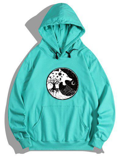 Tree Wolf Print Front Pocket Fleece Hoodie - Medium Turquoise Xl
