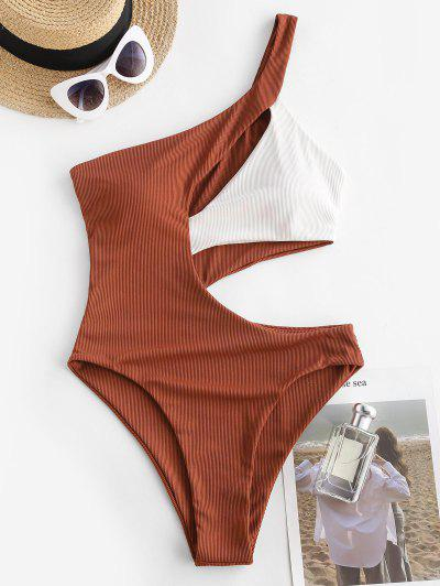 ZAFUL Ribbed Two Tone Cutout One Shoulder Swimsuit - Coffee M