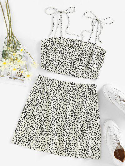 ZAFUL Leopard Smocked M Slit Tie Shoulder Mini Skirt Set - White S