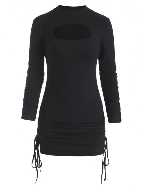lady Ribbed Cutout Cinched Gathered Sleeve Bodycon Dress - BLACK S