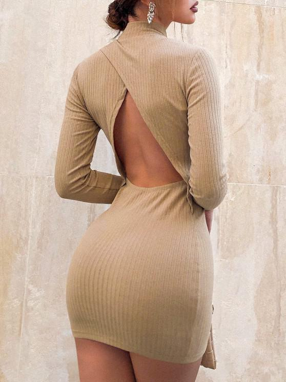 ZAFUL Mini Vestido Mock Pescoço Bodycon - Café Light L
