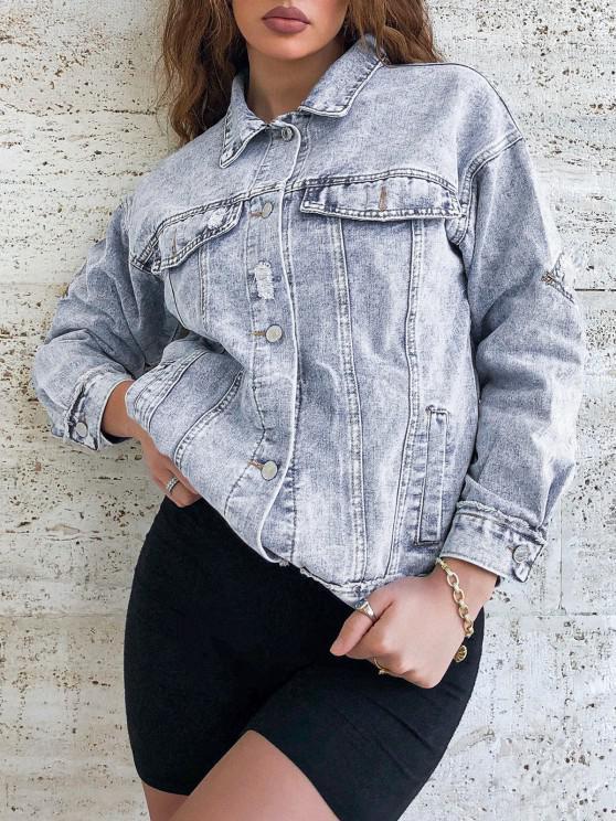 Distressed Frayed Button Up Denim Jacket - أزرق L