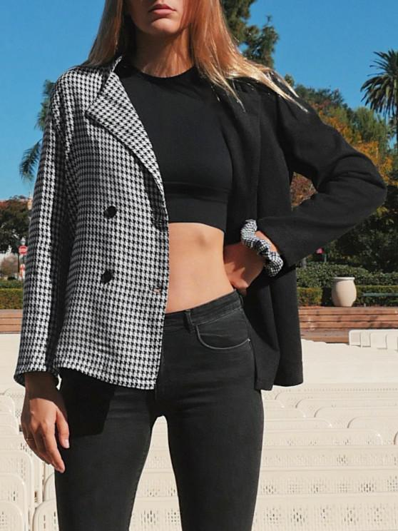 sale Houndstooth Two Tone Double Breasted Blazer - BLACK S