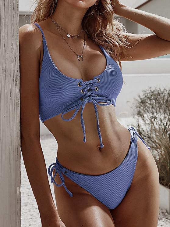 latest ZAFUL Lace-up Tie Side Ribbed Bikini Swimsuit - CORNFLOWER BLUE M
