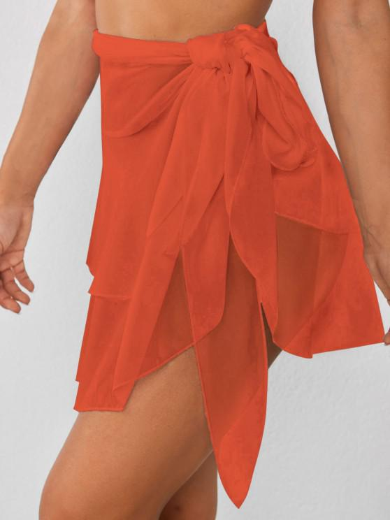 affordable Tiered Flounce Chiffon Tie Cover Up Sarong - ORANGE ONE SIZE