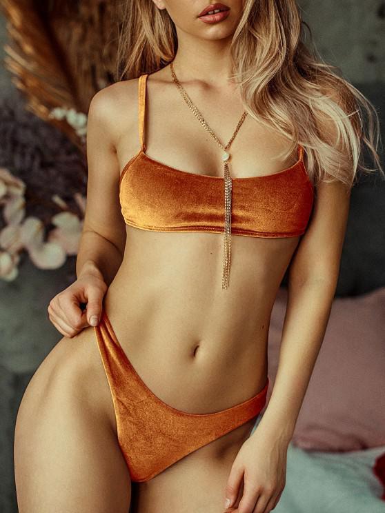 Bikini de Pierna Alta de Terciopelo ZAFUL - Marrón Claro S