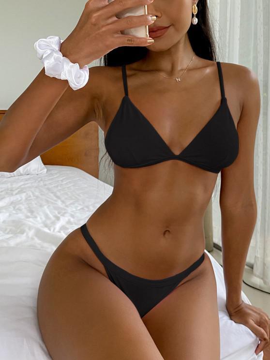 shops Low Waisted Spaghetti Strap Bikini Swimwear - BLACK S