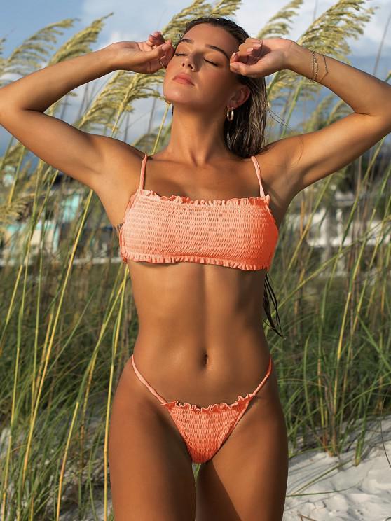ZAFUL Maillot de Bain Bikini Côtelé à Volants - Orange S