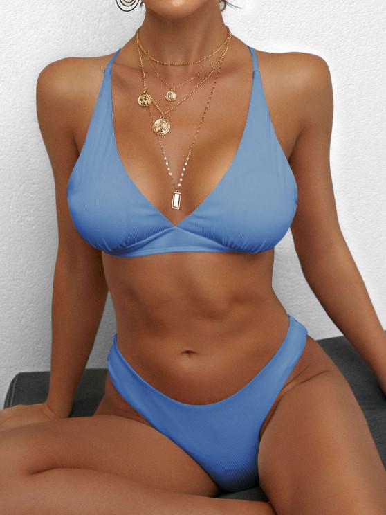 online ZAFUL Crisscross Back Ribbed Bikini Swimsuit - LIGHT BLUE M