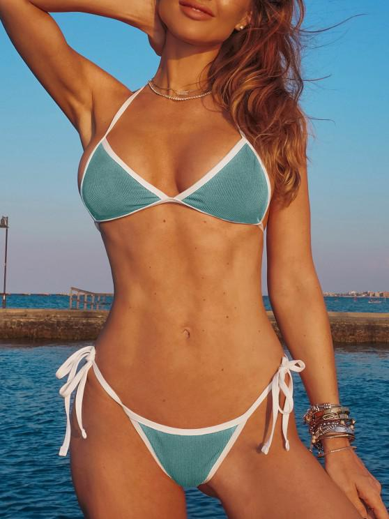 fancy ZAFUL Halter Binding Ribbed String Bikini Swimwear - LIGHT GREEN S