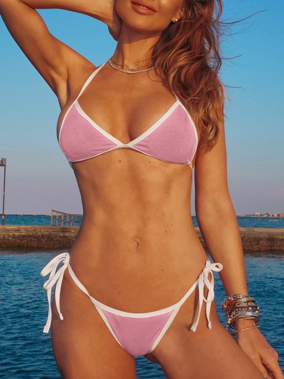 buy ZAFUL Halter Binding Ribbed String Bikini Swimwear - LIGHT PINK M