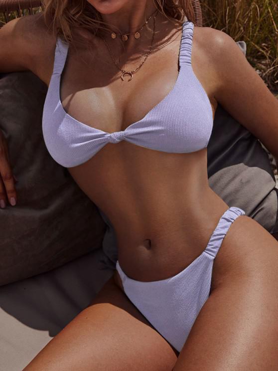 Costume da Bagno Bikini Annodato a Costine con Spalline Elastiche di ZAFUL - Blu Porpora Chiaro S