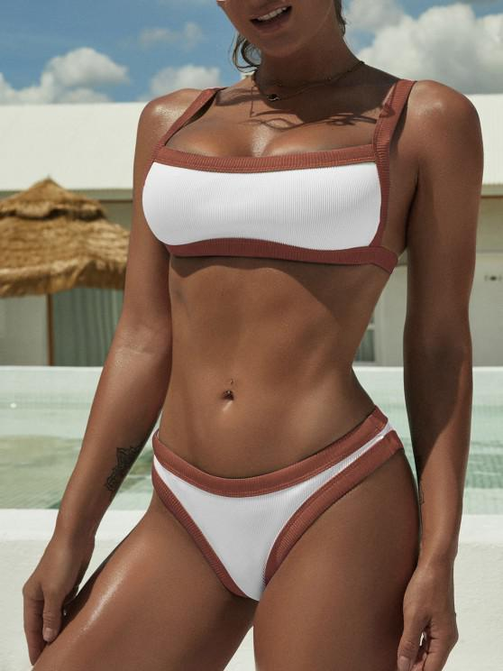 affordable ZAFUL Square Binding Textured Ribbed Bikini Swimwear - DEEP RED S