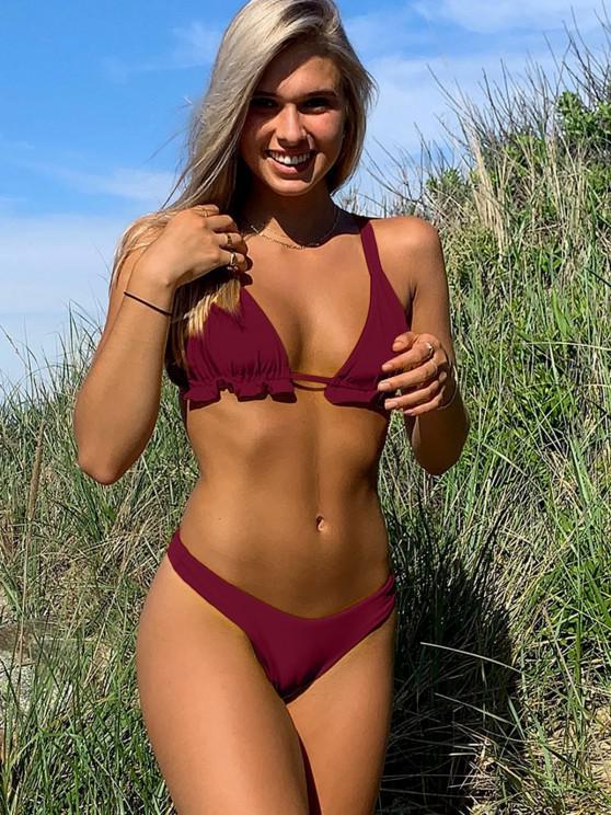fashion ZAFUL Frilled High Cut Bikini Swimwear - RED WINE S