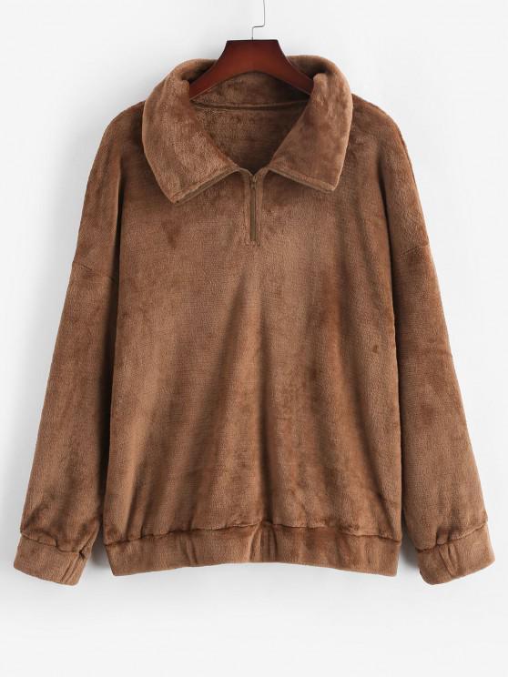 buy ZAFUL Plus Size Fluffy Quarter Zip Sweatshirt - COFFEE L