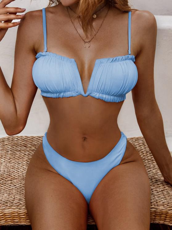 ZAFUL Ribbed V-notch Ruched High Cut Bikini Swimwear - أزرق فاتح L