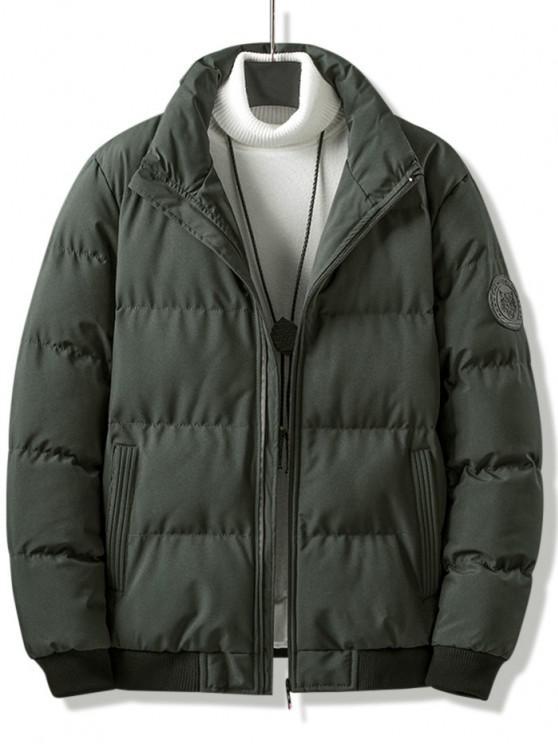 Letter Tiger Badge Patch Padded Jacket - ديب غرين L