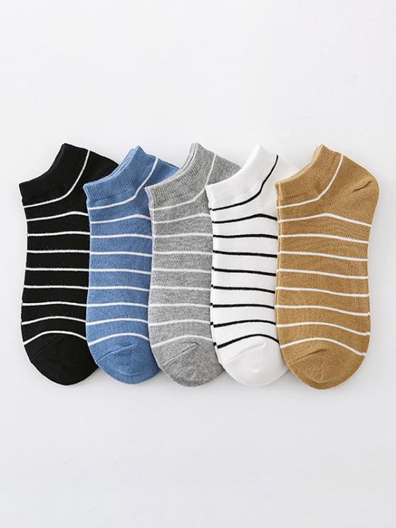 shop 5 Pairs Stripes Pattern Ankle Socks Set - MULTI