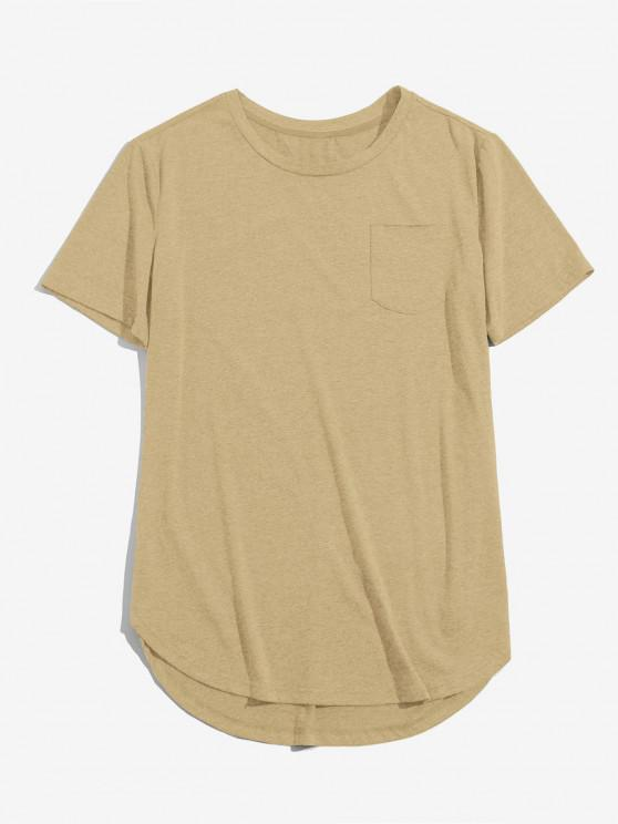 ZAFUL Solid Chest Pocket High Low T-shirt - القهوة الخفيفة L