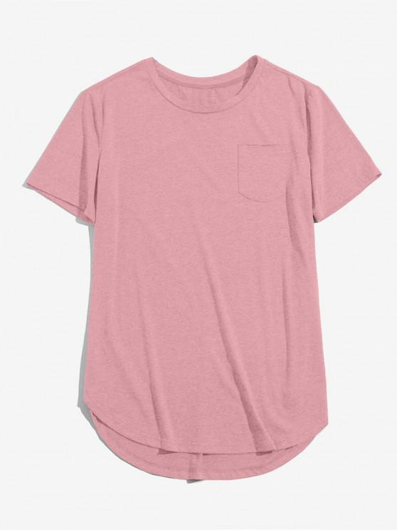 hot ZAFUL Solid Chest Pocket High Low T-shirt - LIGHT PINK S