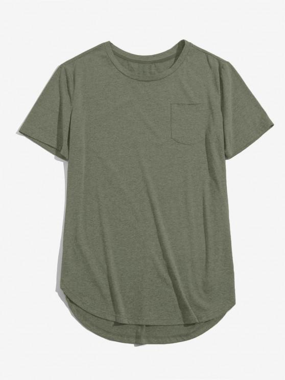 latest ZAFUL Solid Chest Pocket High Low T-shirt - LIGHT GREEN S