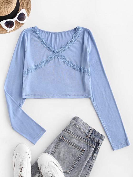 T-shirt Festonné à Ourlet en Dentelle à Col V - Bleu clair S