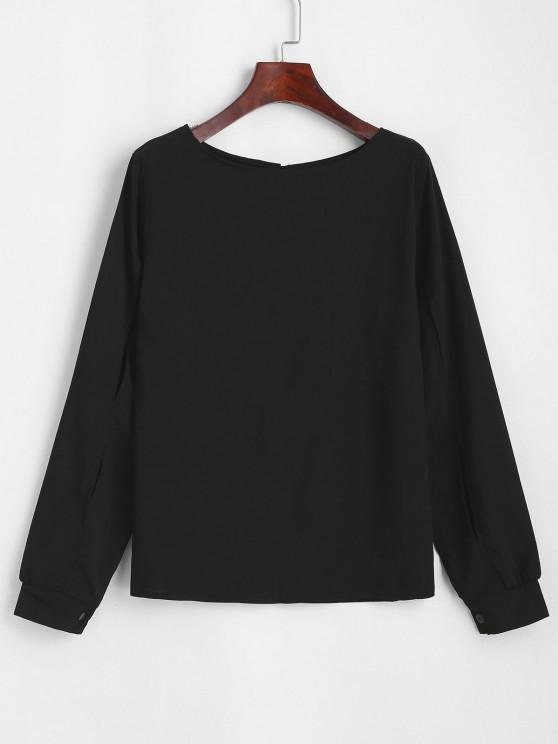 women's Split Sleeve Keyhole Back Pullover Blouse - BLACK S