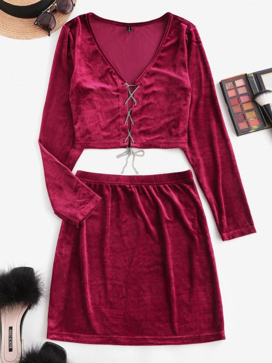 affordable Lace Up Chain Velvet Mini Skirt Set - DEEP RED XS