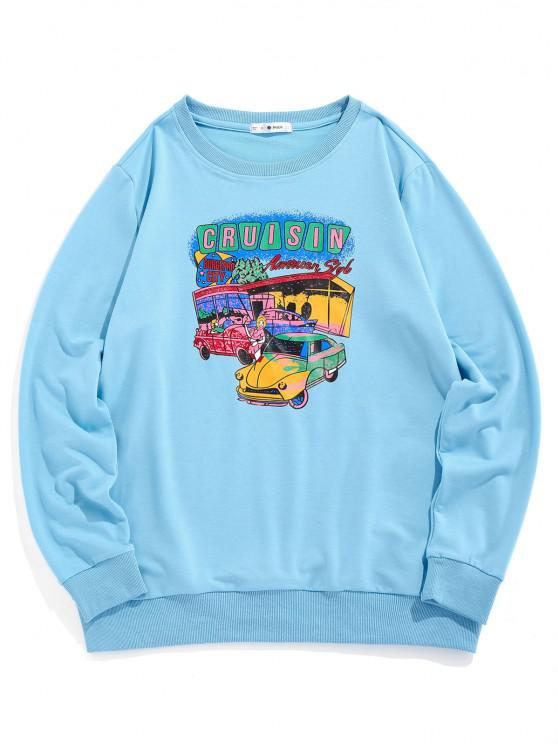 sale ZAFUL Cartoon Car Print Graphic Sweatshirt - LIGHT BLUE S