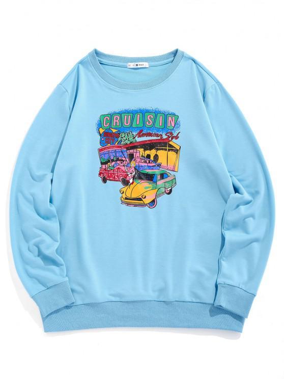 womens ZAFUL Cartoon Car Print Graphic Sweatshirt - LIGHT BLUE XL