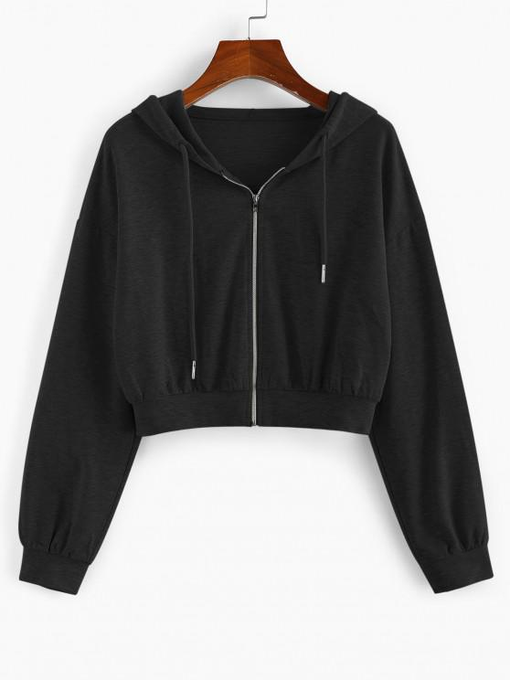 ZAFUL Drop Shoulder Hooded Crop Jacket - أسود L