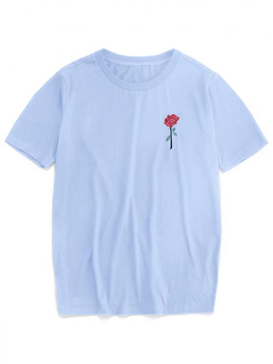 ZAFUL Rose Embroidery Short Sleeve T-shirt - أزرق فاتح XL
