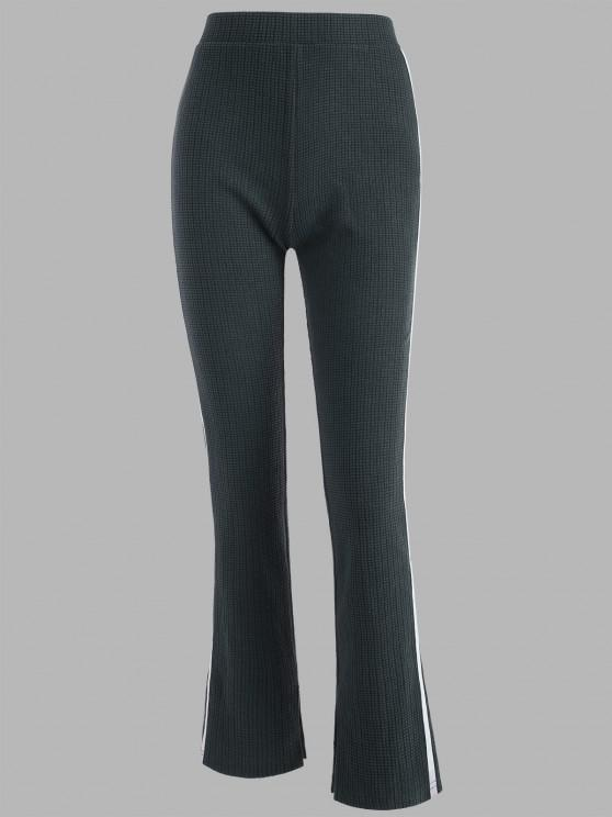 ladies Tape Side High Waisted Slit Cuffs Pants - DARK GRAY S