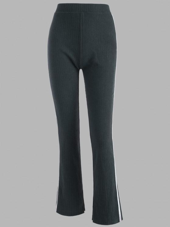 Tape Side High Waisted Slit Cuffs Pants - الرمادي الداكن XL
